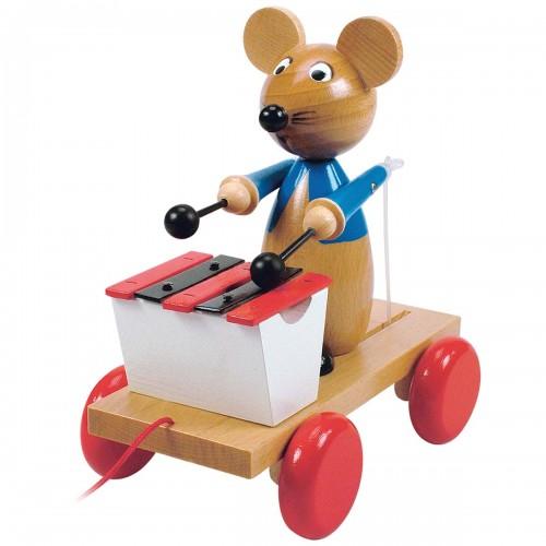 MIMI Souris à tirer avec xylophone en bois jeu à promener