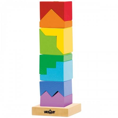 GEO Tour à empiler en bois jeux formes géométriques Montessori