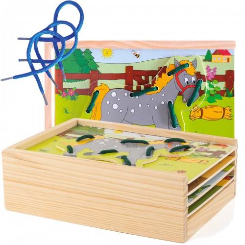 ZIM Plaques à lacer jeu éducatif en bois Montessori