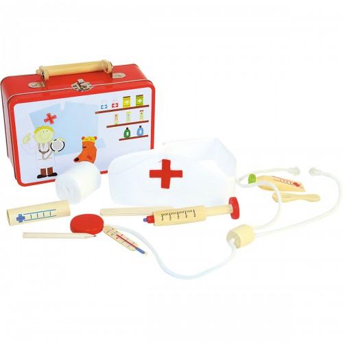 DOC Mallette de docteur avec accessoires de jeu en bois