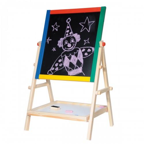 CHALK Tableau en bois magnétique noir et blanc craies et feutres