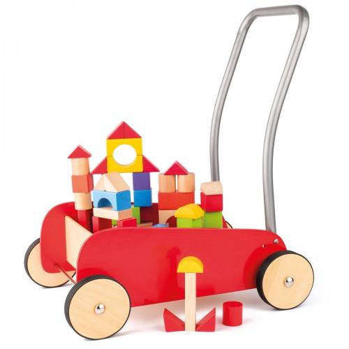 KIM Chariot de marche pousseur en bois et métal avec blocs de jeux