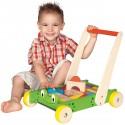 FROG Chariot de marche grenouille en bois avec blocs de jeux