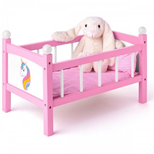 DREAM Lit de poupée licorne jouet en bois avec parure de lit