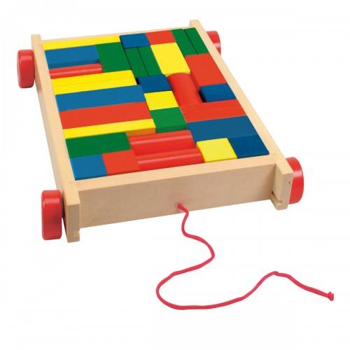 KART Chariot à tirer avec jeu blocs de construction en bois