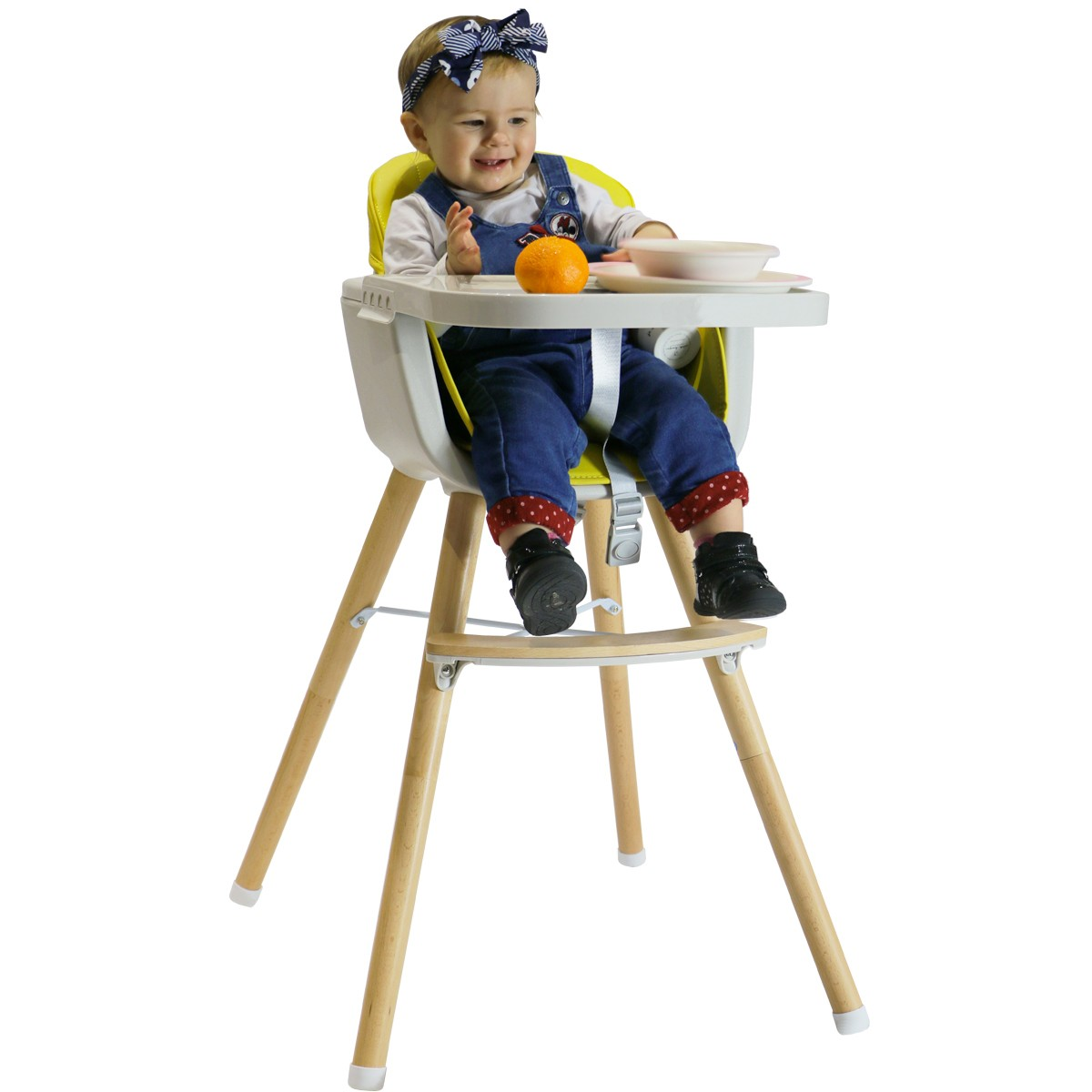 NOOMI Chaise haute bébé scandinave 7 en 7 Gris Le repas de bébé