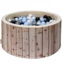 Piscine bois balles bleues