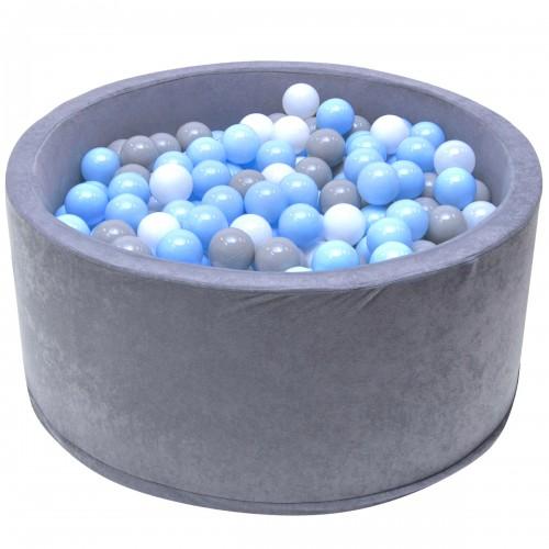 Piscine gris balles bleues