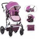 TERRA 2 Poussette Trio avec nacelle cosy et siège rose