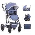 TERRA 2 Poussette Trio avec nacelle cosy et siège bleu