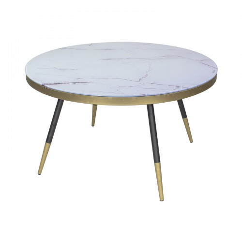 table basse ronde aspect marbre