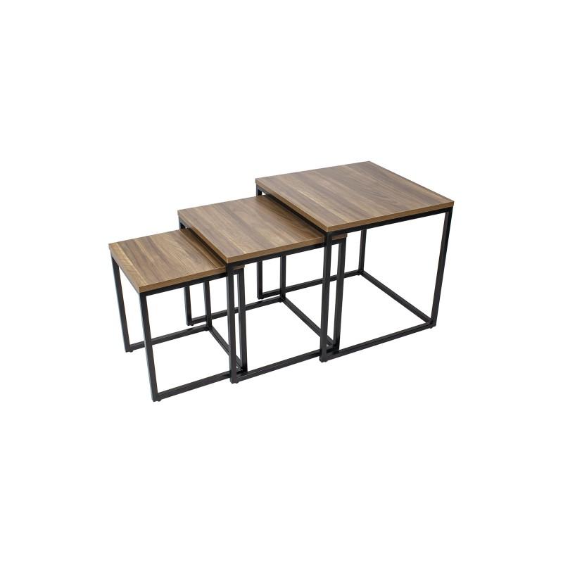 Lot de 3 tables basses noir