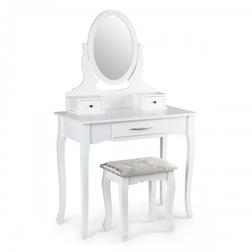 AMEL Coiffeuse cosmétique miroir réglable + tabouret/table de maquillage