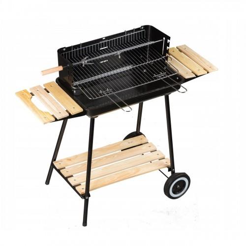 SOA Barbecue charbon de bois avec grille réglable tablettes roulettes