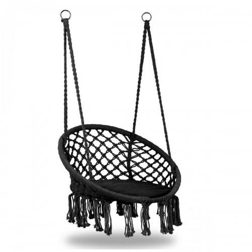 COSTA Chaise suspendue avec dossier et coussin/nid d'oiseau noir