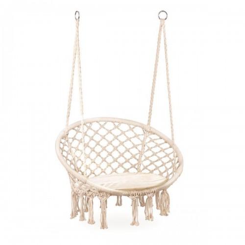 COSTA Chaise suspendue avec dossier et coussin/nid d'oiseau beige