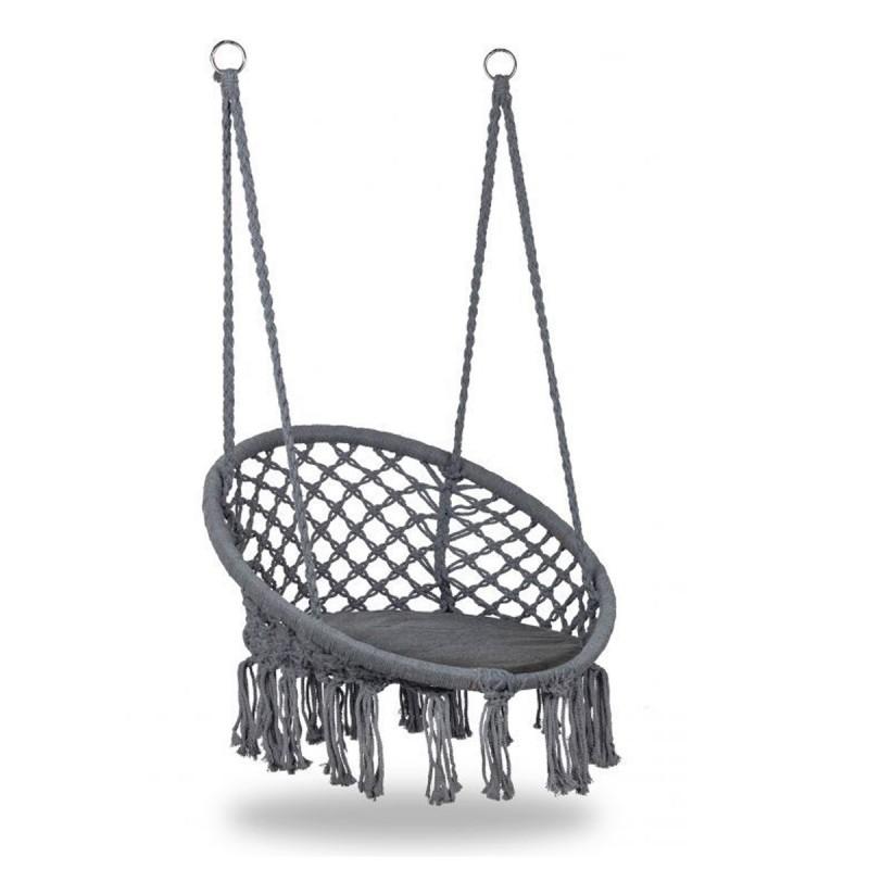 COSTA Chaise suspendue avec dossier et coussin/nid d'oiseau gris