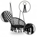 COSTA Chaise suspendue avec dossier et coussin noir
