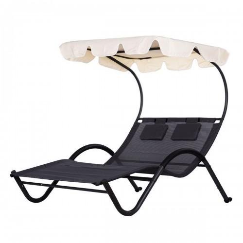 SLONCE Chaise longue moderne pour 2 personnes avec auvent et appuie-têtess