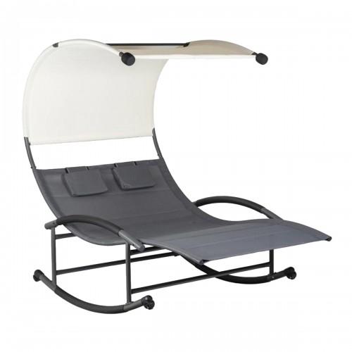 CUBA Chaise longue à bascule pour 2 personnes avec auvent et appuie-têtes