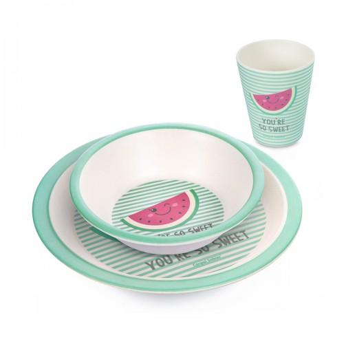 Ensemble vaisselle, une assiette, un bol , un verre