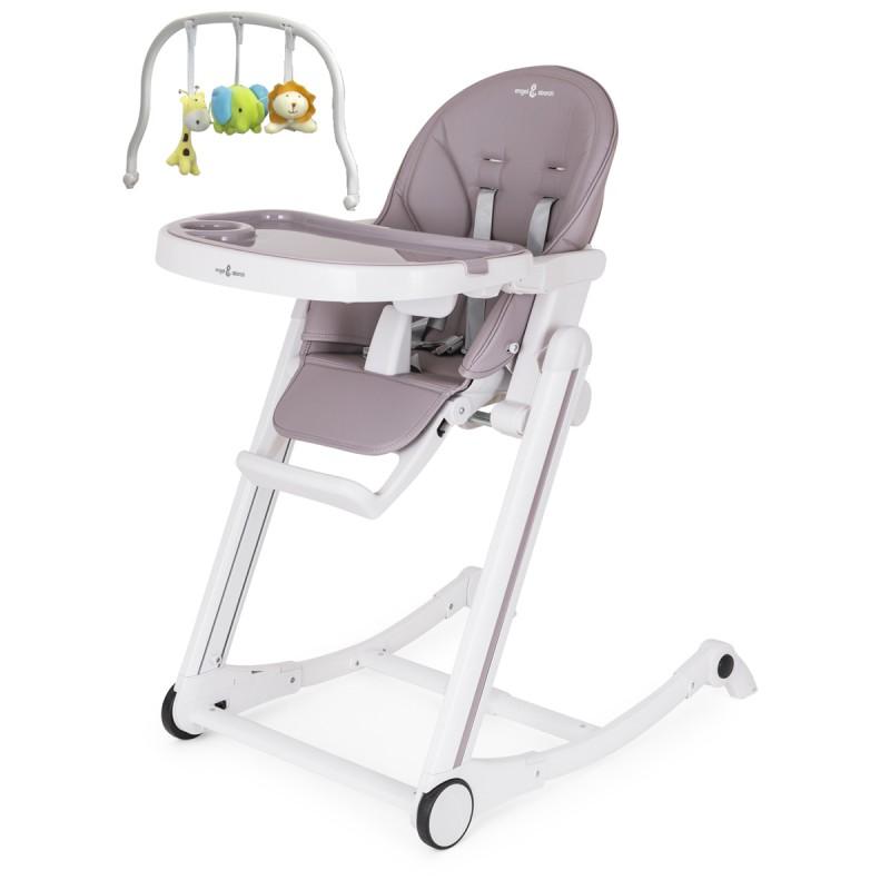 ADELLE Chaise haute à bascule inclinable et pliable avec repose-pieds