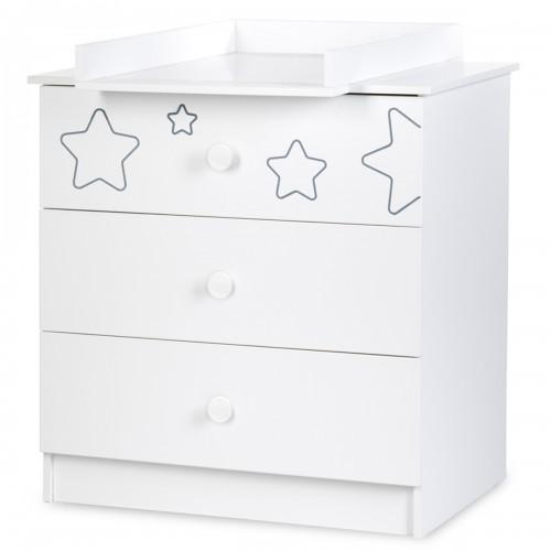 TINO commode à langer 3 tiroirs + plan à langer amovible motif étoiles