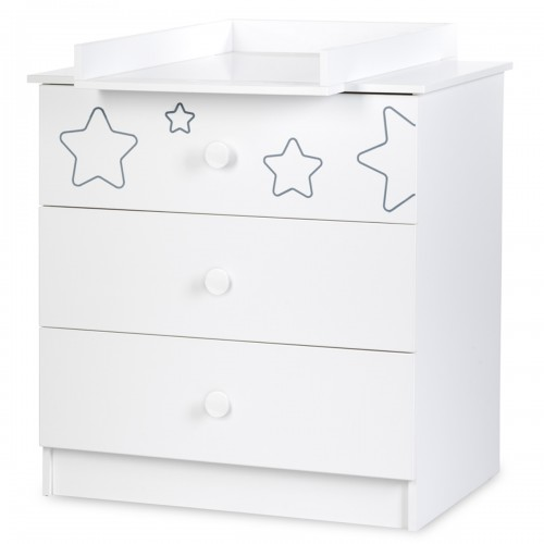 TINO Commode enfant 3 tiroirs motifs étoiles + plan à langer amovible