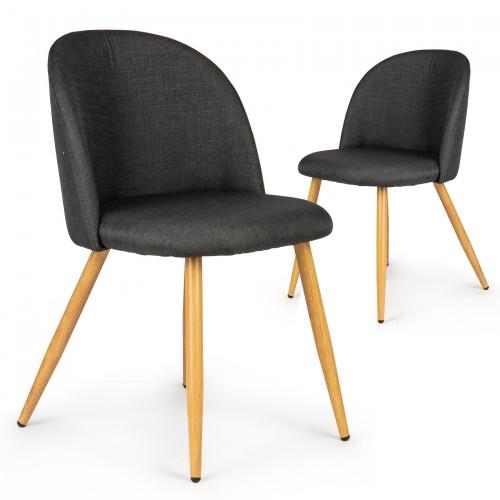 Lot de 2 chaises tissu scandinave