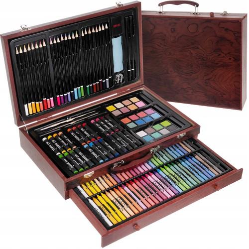 Malette en bois kit dessin et peinture