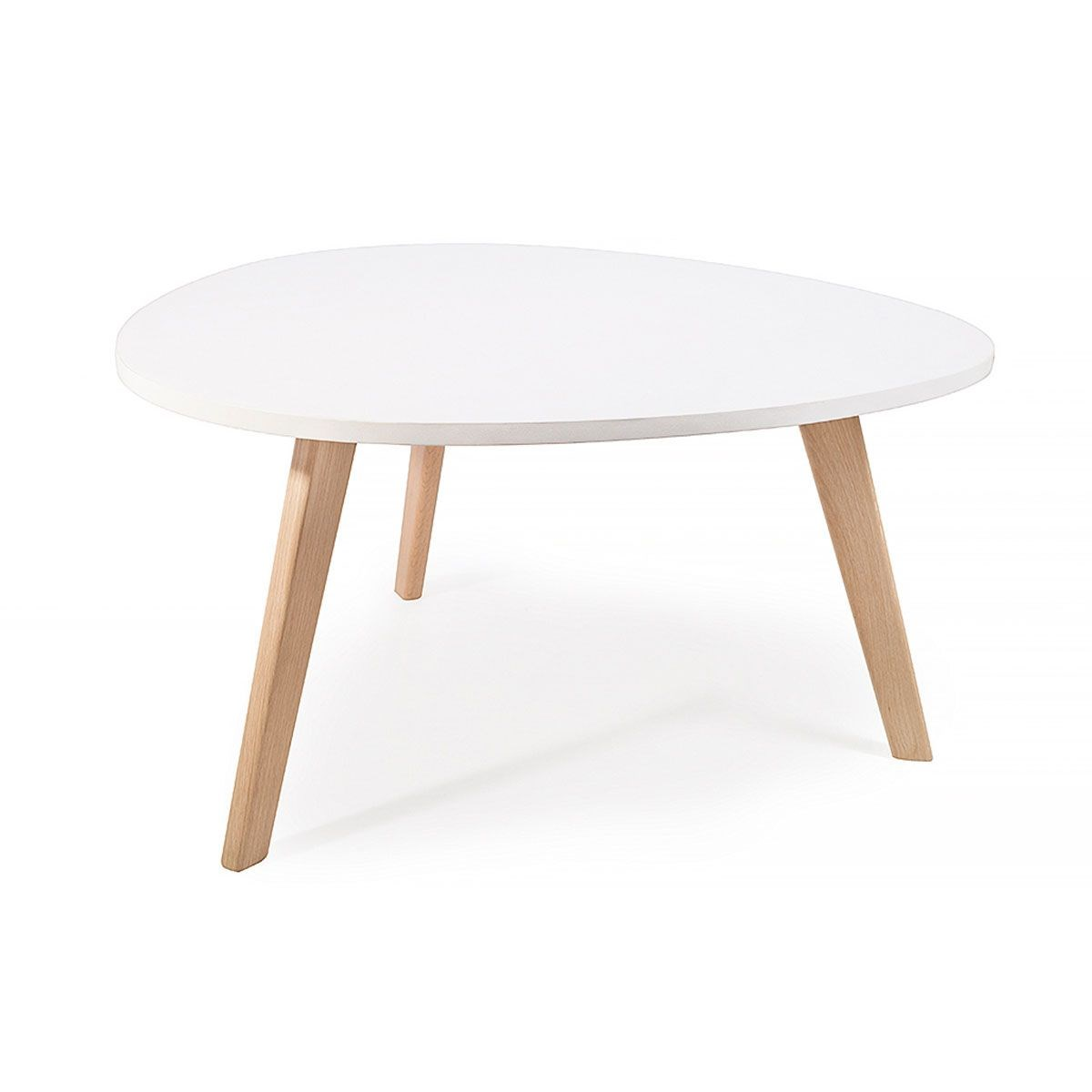Alta Table Basse Scandinave Aspect Galet Satin Pieds En Bois  # Table Basse Scandinave Laque