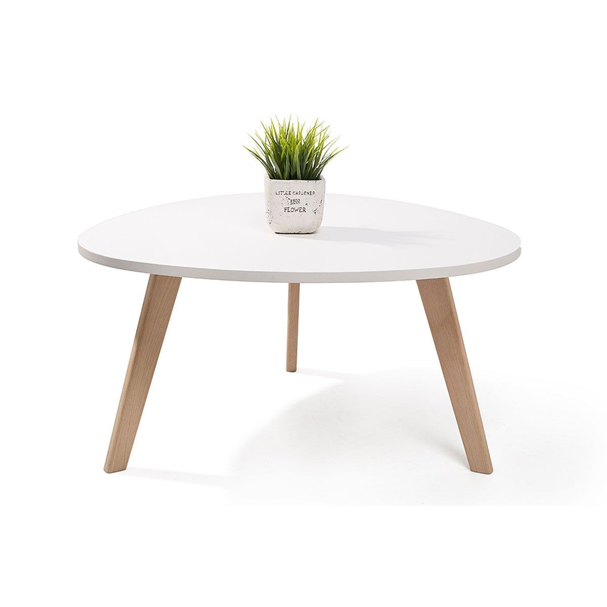 Alta table basse scandinave aspect galet satin pieds en - Table de salon style scandinave ...