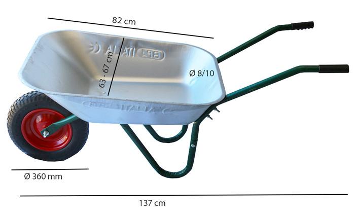 Dimensions brouette 70 L