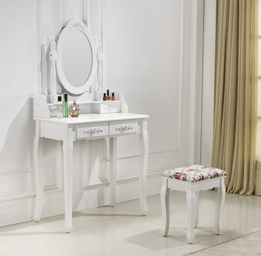 tr s belle coiffeuse table de maquillage avec 2 tiroirs blanc vente de paolo collaner conforama. Black Bedroom Furniture Sets. Home Design Ideas