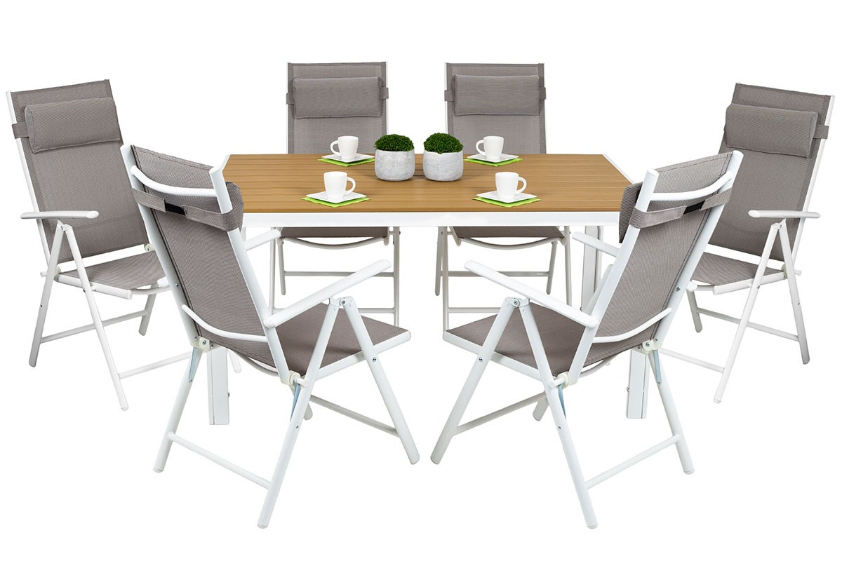 Cordoba salon de jardin 6 chaises table alu top qualit for Table et 6 chaises conforama