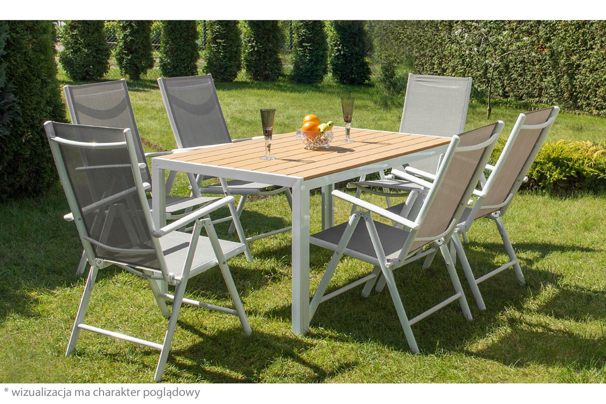 cordoba salon de jardin 6 chaises table alu top qualit gris conforama. Black Bedroom Furniture Sets. Home Design Ideas
