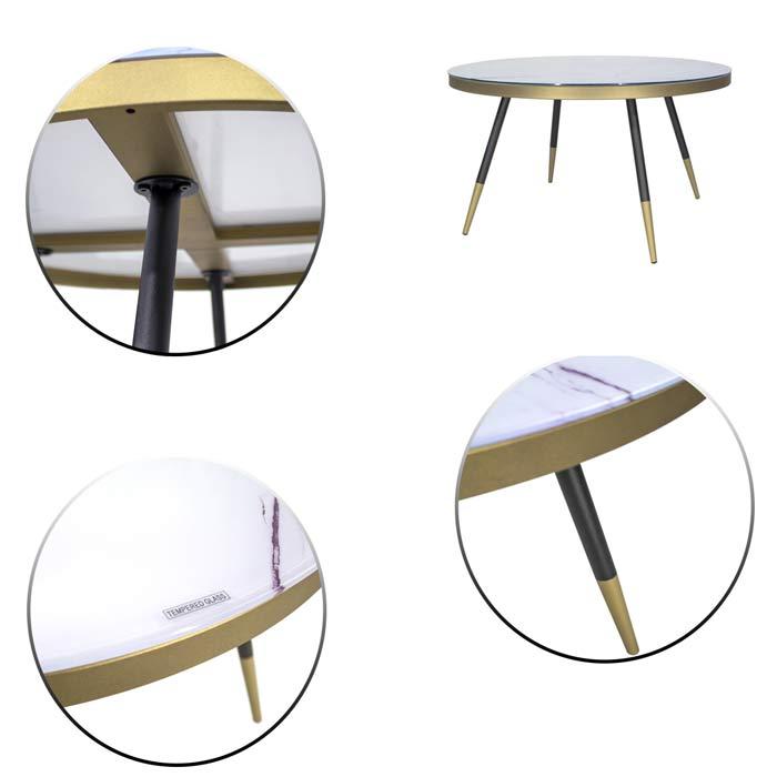 table marbre doré noir