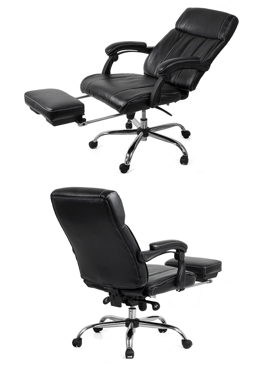 fauteuil de bureau boss pivotant inclinable repose pieds noir conforama. Black Bedroom Furniture Sets. Home Design Ideas