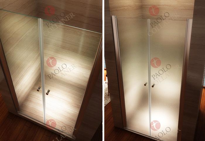 Porte de douche transparente ou dépoli opaque