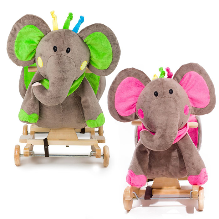 kinderkraft peluche l phant cheval bascule avec roues effets sonores vert. Black Bedroom Furniture Sets. Home Design Ideas