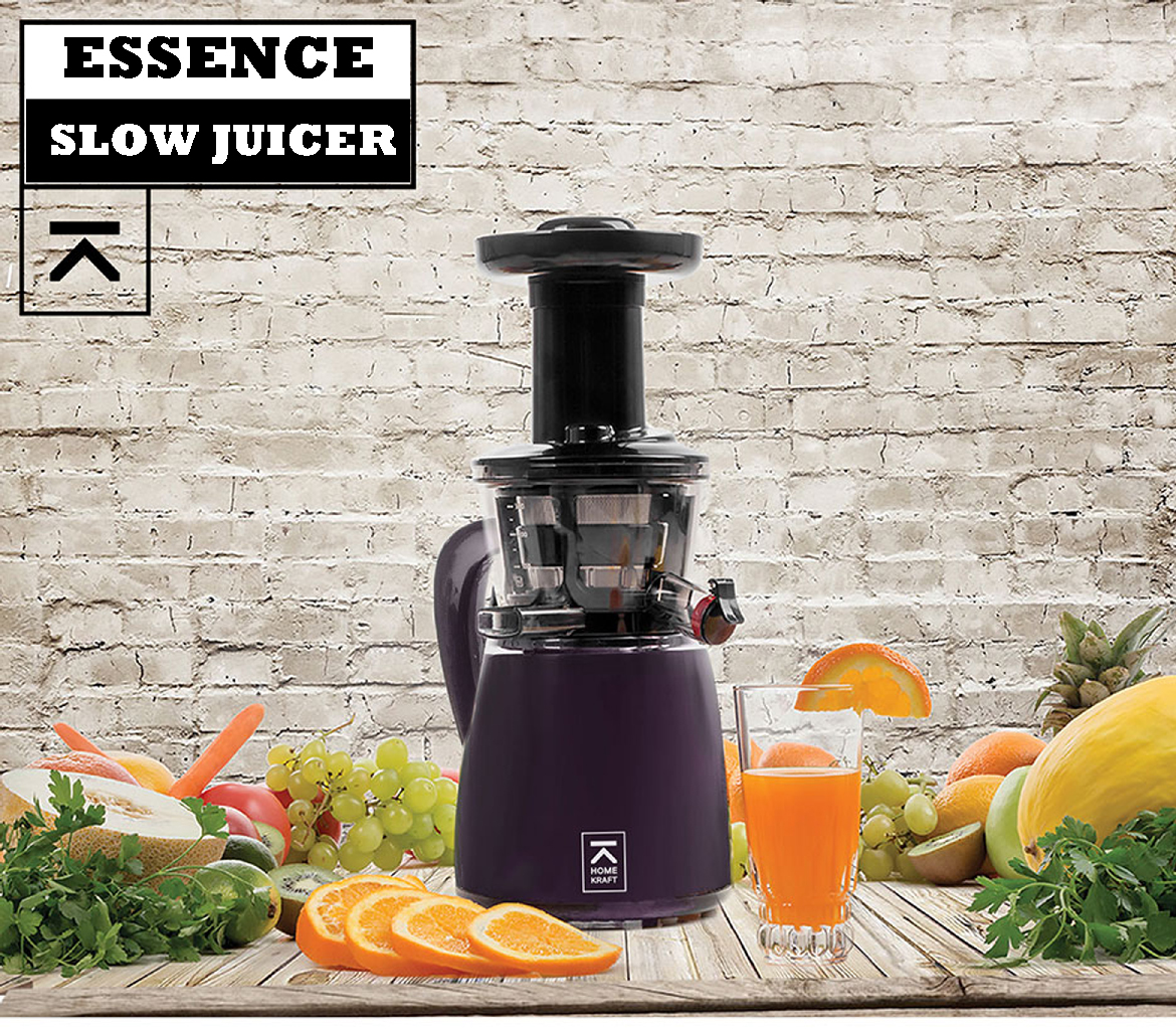 Slow Juicer Essence : Extracteur de jus de fruits et lEgumes HomeKraft