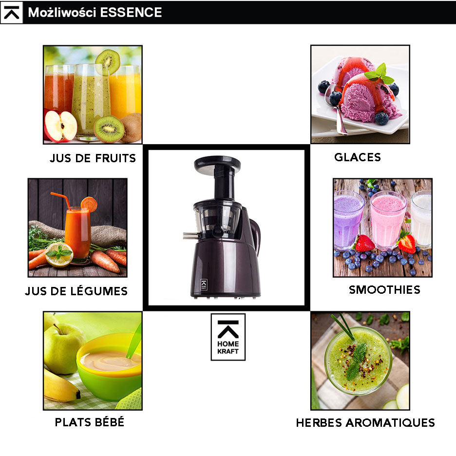 Homekraft Extracteur de jus slow juicer essence ? rotation lente 150 w