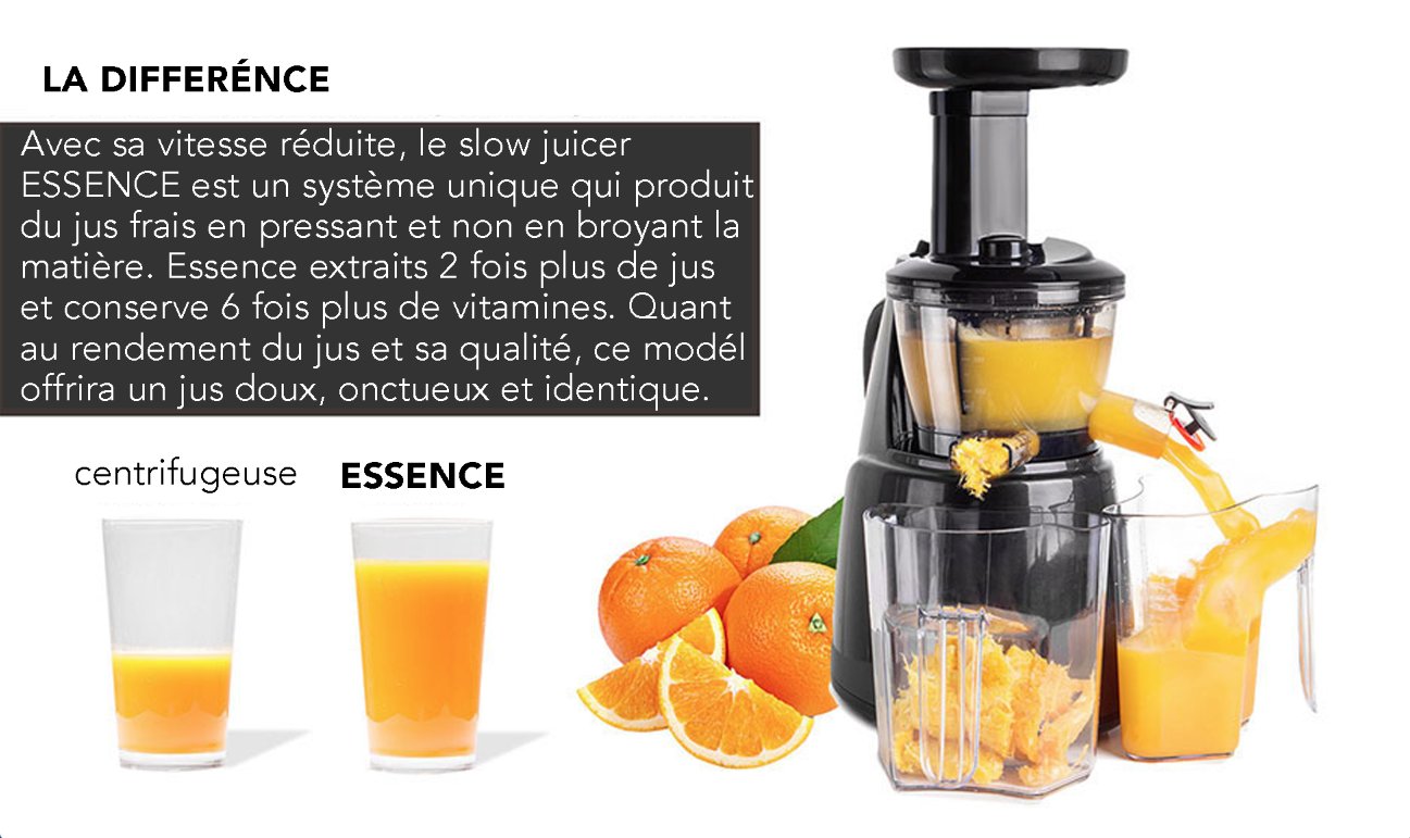 super extracteur de jus slow juicer essence rotation lente 150w noir achat vente. Black Bedroom Furniture Sets. Home Design Ideas