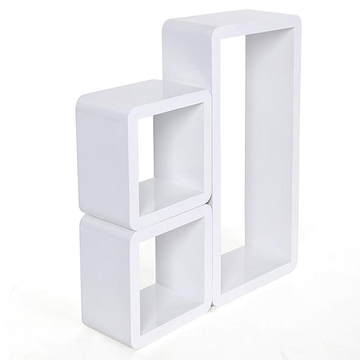 etag res murales lot de 3 rangements cubiques rectangulaires blanc quincaillerie. Black Bedroom Furniture Sets. Home Design Ideas