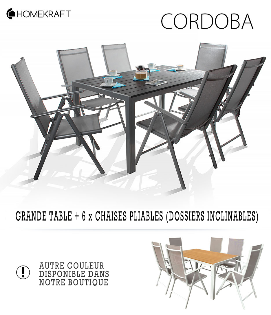 CORDOBA Ensemble salon de jardin 6 places TOP QUALITE table Alu + ...
