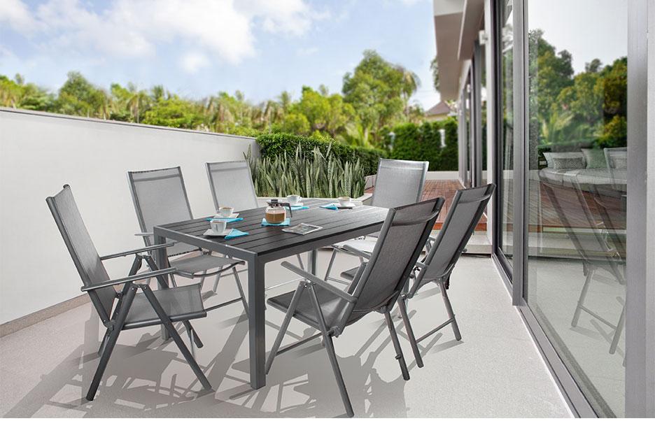 cordoba ensemble salon de jardin 6 places top qualite table alu 6 chaises achat vente. Black Bedroom Furniture Sets. Home Design Ideas