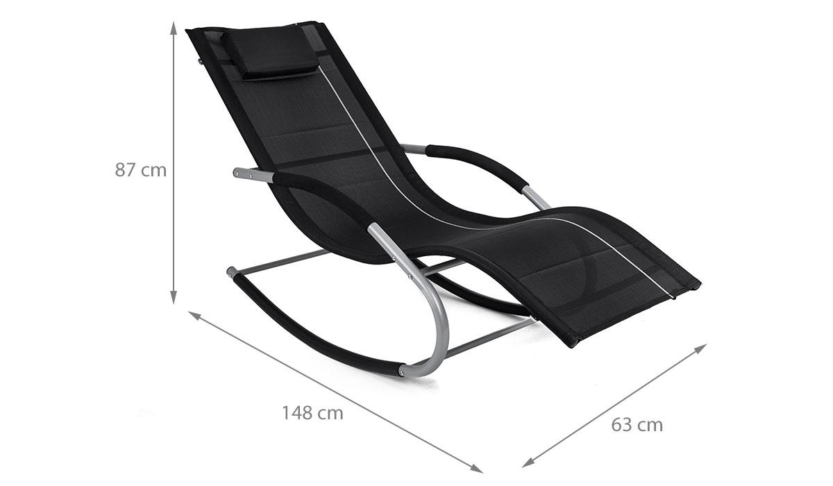 Bergamo jawa rock noir transat bascule fauteuil piscine for Transat terrasse design