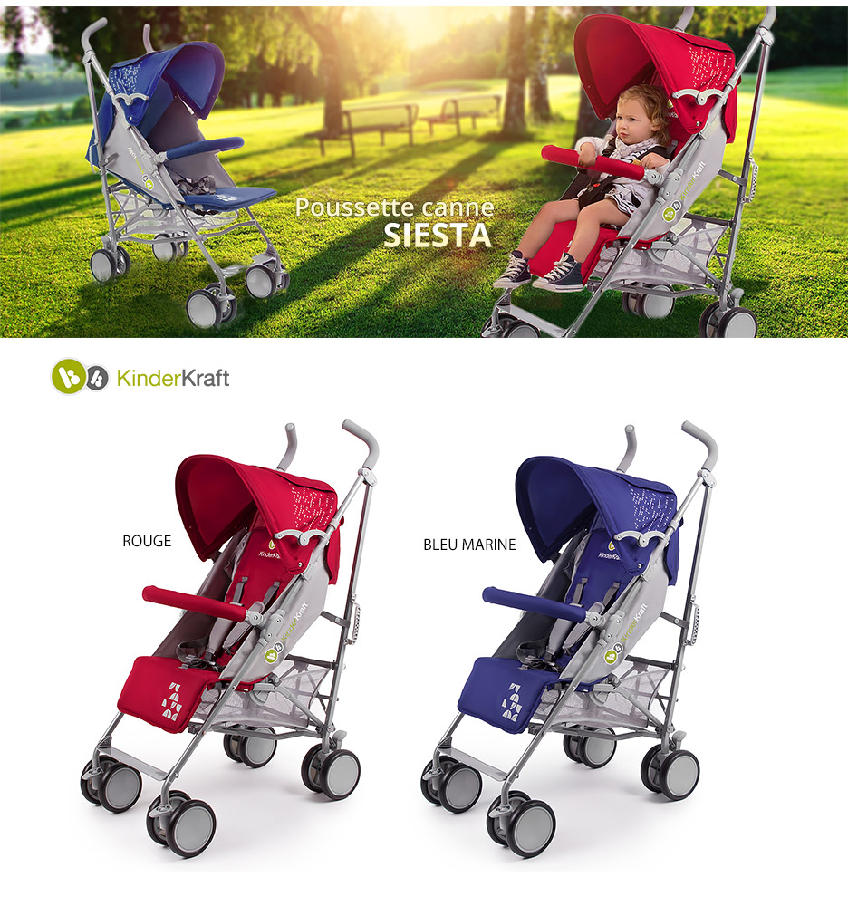 SIESTA ROUGE Poussette Canne multipostions