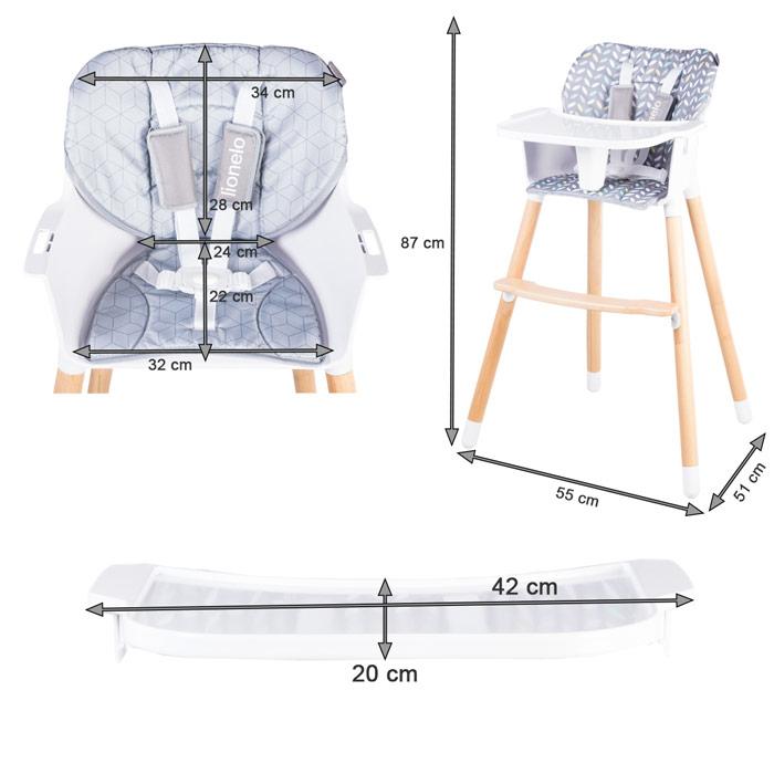 Dimensions chaise haute
