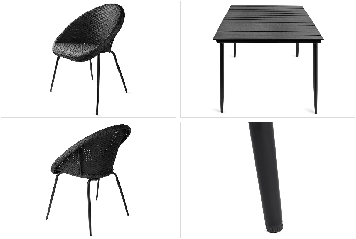 leon salon de jardin table 4 chaises rondes en rattan noir distriartisan. Black Bedroom Furniture Sets. Home Design Ideas
